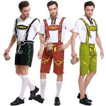 German Oktoberfest Men Waiter Costume Halloween Party Sling Pant - $34.00