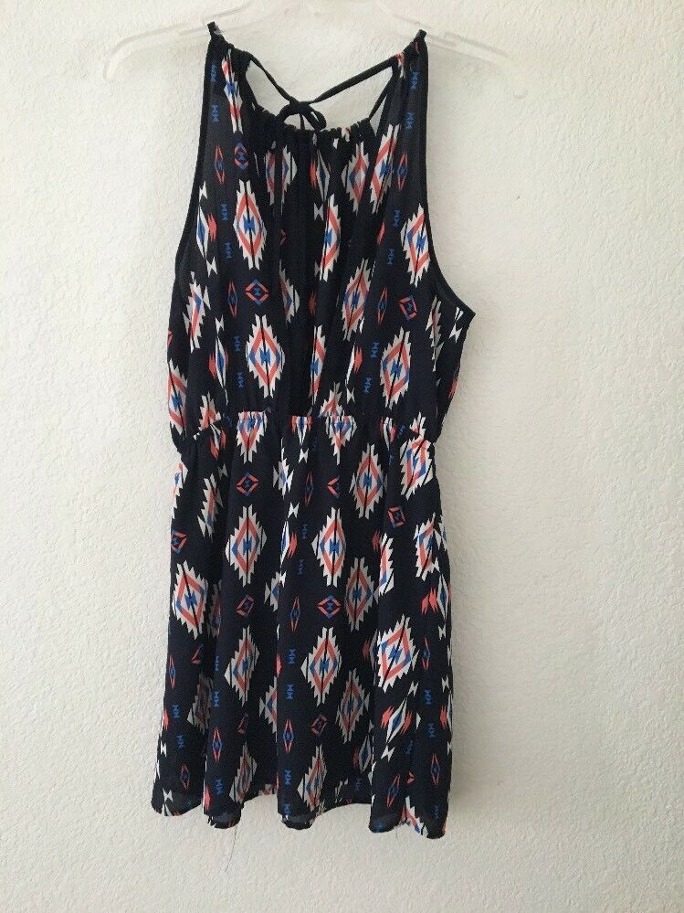 Women's Small Forever 21 Halter Style Navy Blue Open Back Dress Preowned