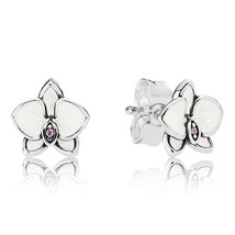 925 Sterling Silver Orchids, White Enamel & Clear CZ Stud Earrings QJCB1254 - $21.99