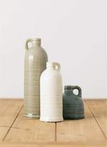 "Nice Set of 3 Glazed Ceramic Vases Jugs 4"" - 10"" Natural Shabby Chic Far... - $79.95"