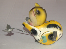 Vintage Tin Cat Butterfly Catcher Metal Toy Wind Up Spring MASUDAYA Japan 1960's image 7