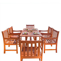 Malibu Eco-Friendly 7-Piece Wood Outdoor Dining Set V189SET10 - $802.86