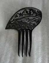 Truly Vintage Black Celluloid Hair Comb w. Black Rhinestones Striking Goth - $38.61