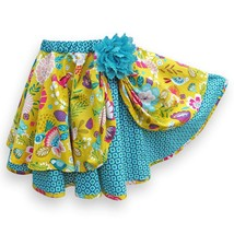 Pull-On Layered Circle Skirt, Girl's Size 5, Yellow and Teal - $45.00