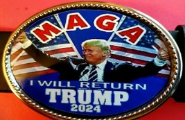 TRUMP 2024 Epoxy Belt Buckle  - << MAGA >>I WILL RETURN !  - NEW! - $16.78