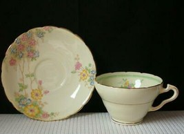 WELLINGTON CHINA Yellow with Pastel Flowers FOOTED TEA CUP & SAUCER England - $8.24
