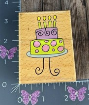Katie & Co Birthday Celebration Cake Stand Tiered Rubber Stamp Candles #H42 - $3.47
