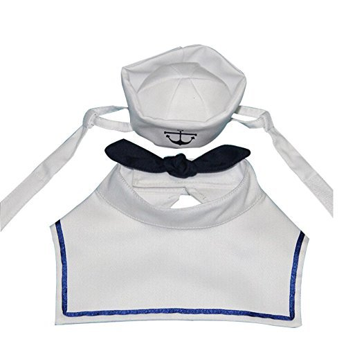 BUYITNOW Pet Sailor Hat Navy Tie Costume Set for Small Dog and Cat White