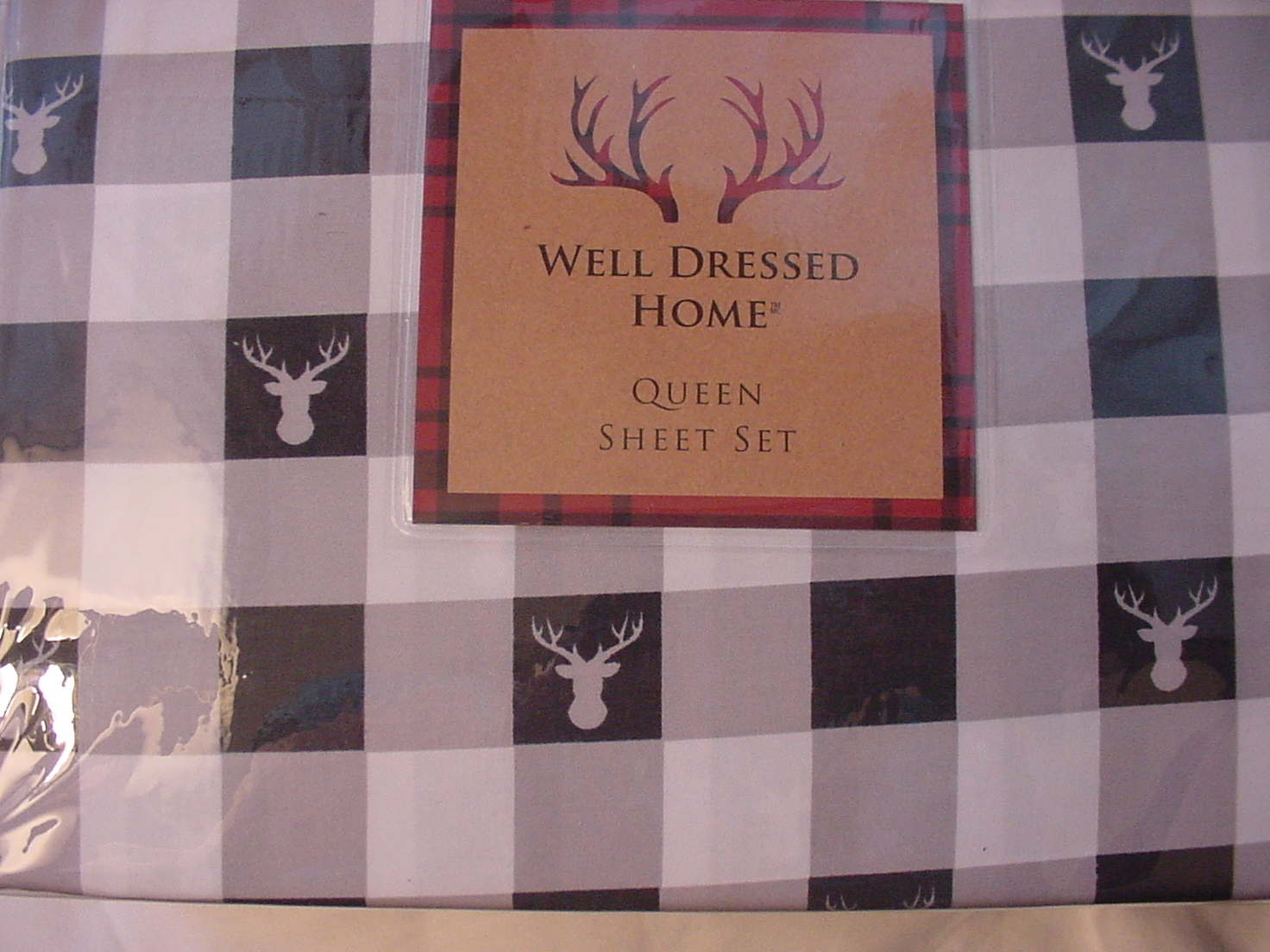 Well Dressed Home Reindeer Heads on Black White Check Microfiber Sheet Set Queen