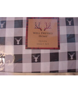 Well Dressed Home Reindeer Heads on Black White Check Microfiber Sheet S... - $55.00