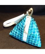 Pyramid Bag/Wristlet/Gift Bag - Blue Hologram/Holographic shiny fabric bag - $19.95