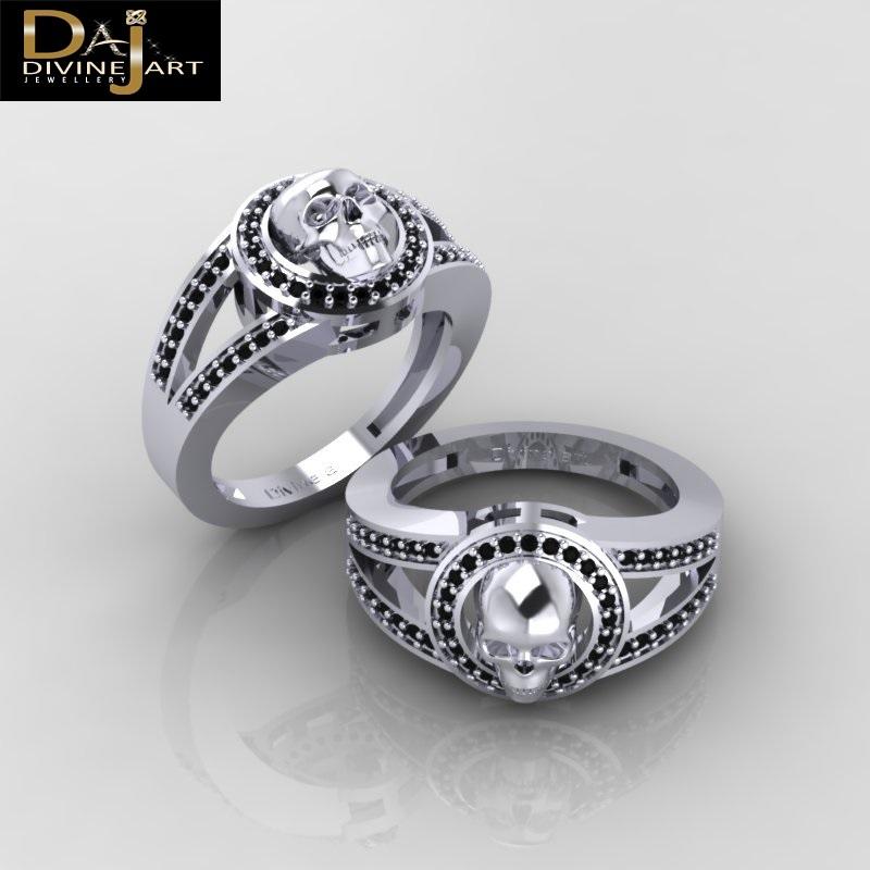 Black Diamond Bridal Wedding Ring Deathly Vapor Skull