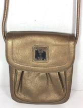 Tignanello Small Slim Metallic Bronze Leather Crossbody Shoulder Bag - $38.79
