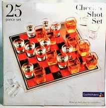 """Luminarc 25 Piece 14""""x14"""" Checkers Shot Glass Set - Holiday Party Drinking Game - $18.67"""