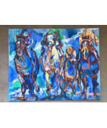 OIL ON CANVAS PAINTING SIGNED Vibrant Flying Horses Racetrack LEROY NEIM... - $1,919.92