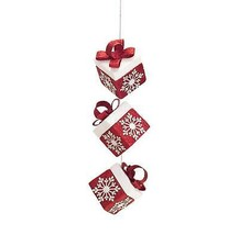 "Melrose 12.5"" Alpine Chic Red White Gift Box Snowflakes Christmas Ornament - $11.62"