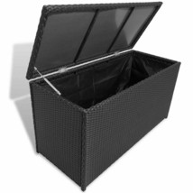 vidaXL Garden Storage Chest Poly Rattan Black Outdoor Bench Cabinet Orga... - $117.99