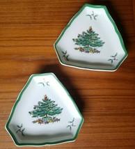 "Set of 2 Spode Christmas Tree S3324 I  - 5"" Triangular Dishes Tree & Presents - $14.50"