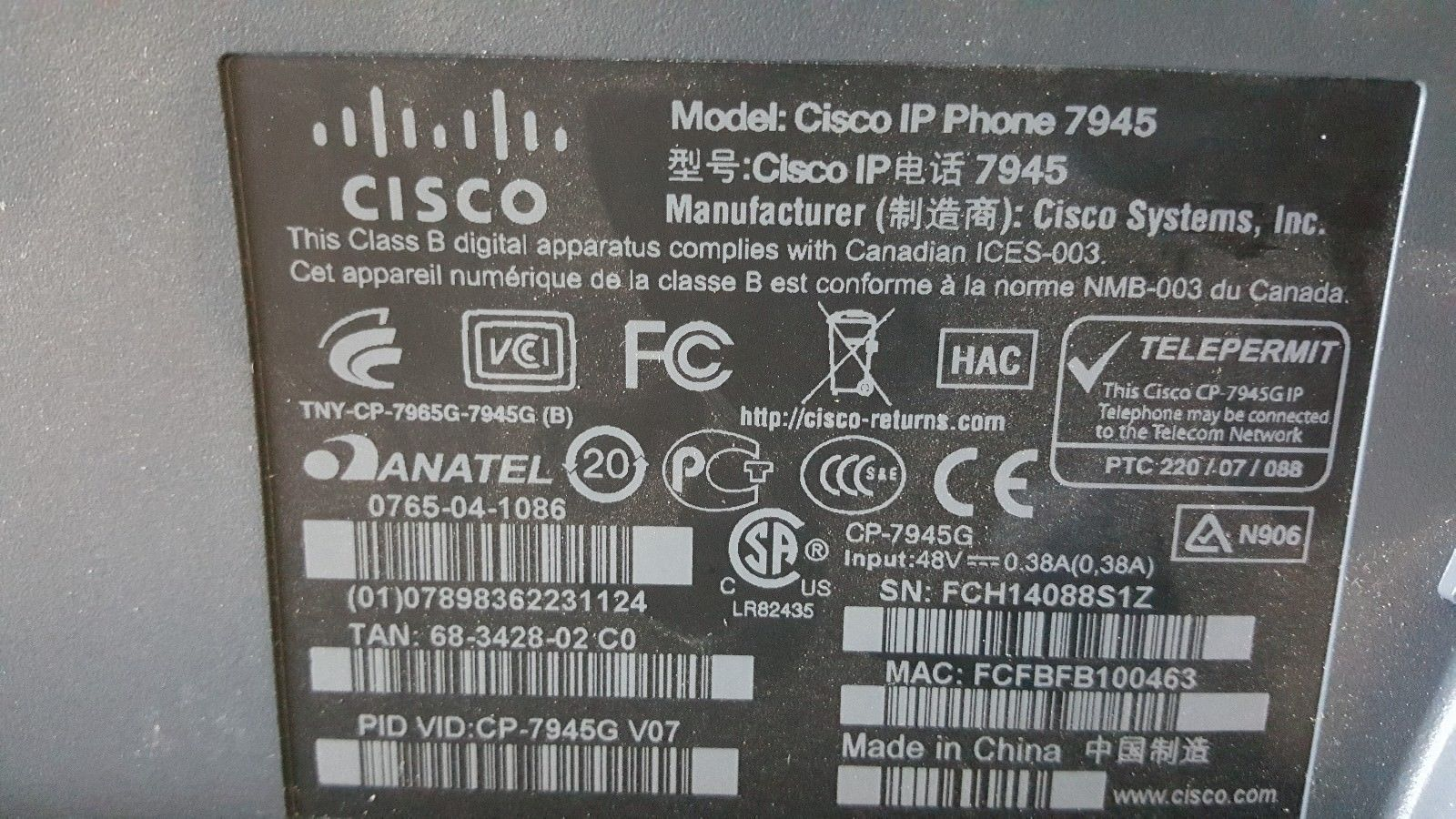 Cisco 7965 IP Phone & Handset - Excellent and 50 similar items