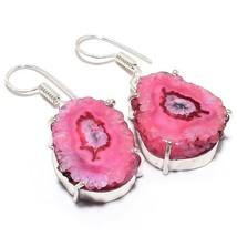 """Pink Solar Quartz Druzy Gemstone Jewelry Earring 1.5"""" RJ3582 - $5.99"""
