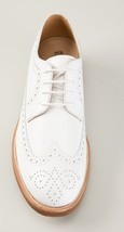 Handmade Men's White Leather Wing Tip Brogues Style Oxford Shoes image 6