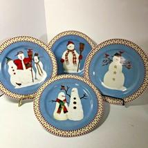 Set of 4 Various Snowmen Desert Plates - $22.76