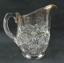 Vintage Pop Art Deco Gold Accent décor heavy etched glass pitcher - $39.00