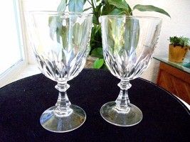 Set of 2 Cris D'Arques Luxemburg Pattern Clear Crystal Water Goblets - $21.77