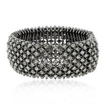 Inspired Silver 5 Row Prong Set Cubic Zirconia Black Beauty Elegant Adju... - $58.75