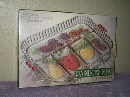 Indiana Glass Rainbow Mist 5 Part 2939 Relish Tray Mint In Box - $18.65