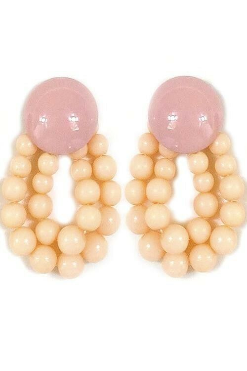 Primary image for WOMEN'S FASHION JEWELRY COLOR STATEMENT POST EARRINGS BEIGE NEW NEVER WORN