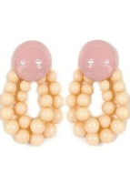 WOMEN'S FASHION JEWELRY COLOR STATEMENT POST EARRINGS BEIGE NEW NEVER WORN - $1.90
