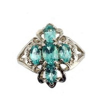 Vintage Sterling Filigree 2.35ct Four Oval Blue Aqua Crystals 1960's Rin... - $53.99