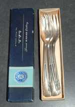 Vintage Silverplate Radad Israel 6 Pastry Dessert Seafood Forks Signed 1950's image 7