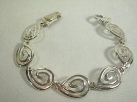 Swirl Links Silver Plated Bracelet MAGNETIC Clasp Vintage Estate Career - $13.86