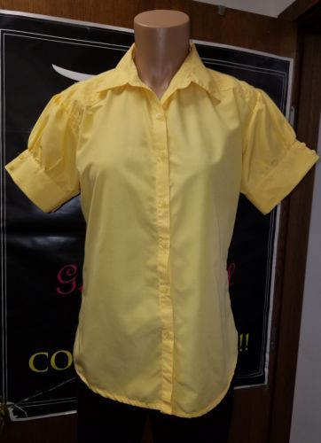 UNITI CASUALS WOMEN'S BUTTON DOWN BLOUSE Yellow Size Medium Short Sleeve