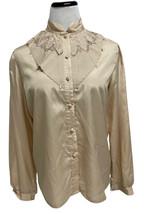 Vintage Rhapsody women's top blouse long sleeve button front size L - $18.80