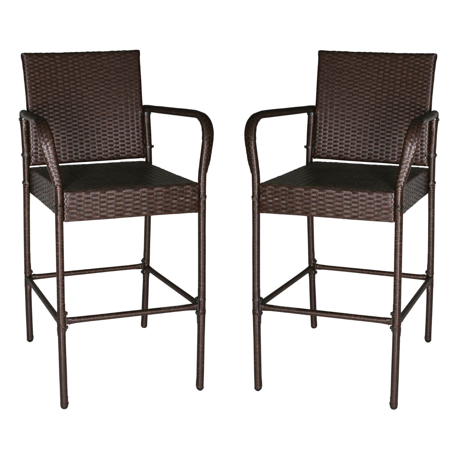 Set of 2 Outdoor Wicker Bar Stool Outdoor Patio Furniture Bar Chairs, Brown