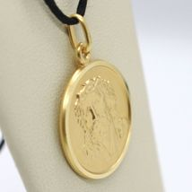 18K YELLOW GOLD ECCE HOMO, JESUS CHRIST FACE MEDAL DETAILED MADE IN ITALY, 19 MM image 3