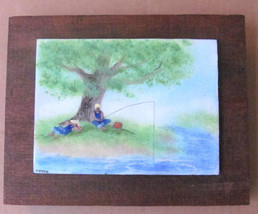"Original Metal Art Handmade & Handpainted Untitled ""Fishing In the Pond""... - $45.00"
