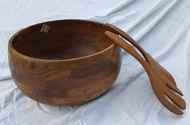 Ernest Sohn Creations NY Teak Wooden Salad Bowl Set #1202 NIB True Vinta... - $138.59