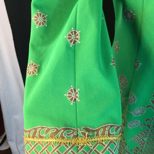 Vtg Green Alfred Shaheen Exotic Mod Tunic Dress Signed Print MCM Polypop S/M image 9