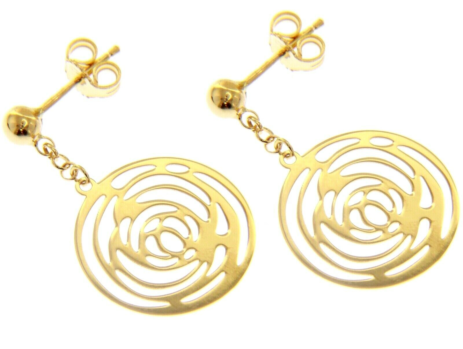 18K YELLOW GOLD PENDANT EARRINGS, FLOWER ROSE WORKED DISC, MADE IN ITALY