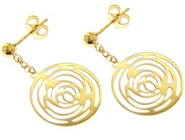 18K YELLOW GOLD PENDANT EARRINGS, FLOWER ROSE WORKED DISC, MADE IN ITALY image 1