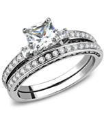 HCJ Stainless Steel 3 Stone Princess Cut CZ Engagement & Wedding Rings S... - $17.09
