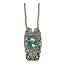 Avon Silvertone Green Teal  Clear Crystal Necklace Pendant Envy Me  - $14.84