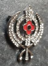 Stunning Diamonte Black Gun Metal SIKH Khanda Poppy Rememberance Day Brooch Pin image 5