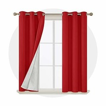 Deconovo Red Blackout Curtains Grommet Energy Saving Curtains with Silve... - $32.38