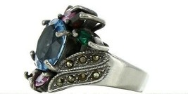 Vintage Ladies Size 6.5 Sterling Silver Multi Stone Fashion Ring No. 2145 image 2