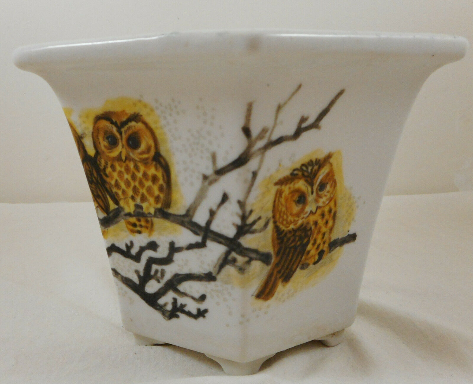 Six Sided Owl Planter Pot Vase White
